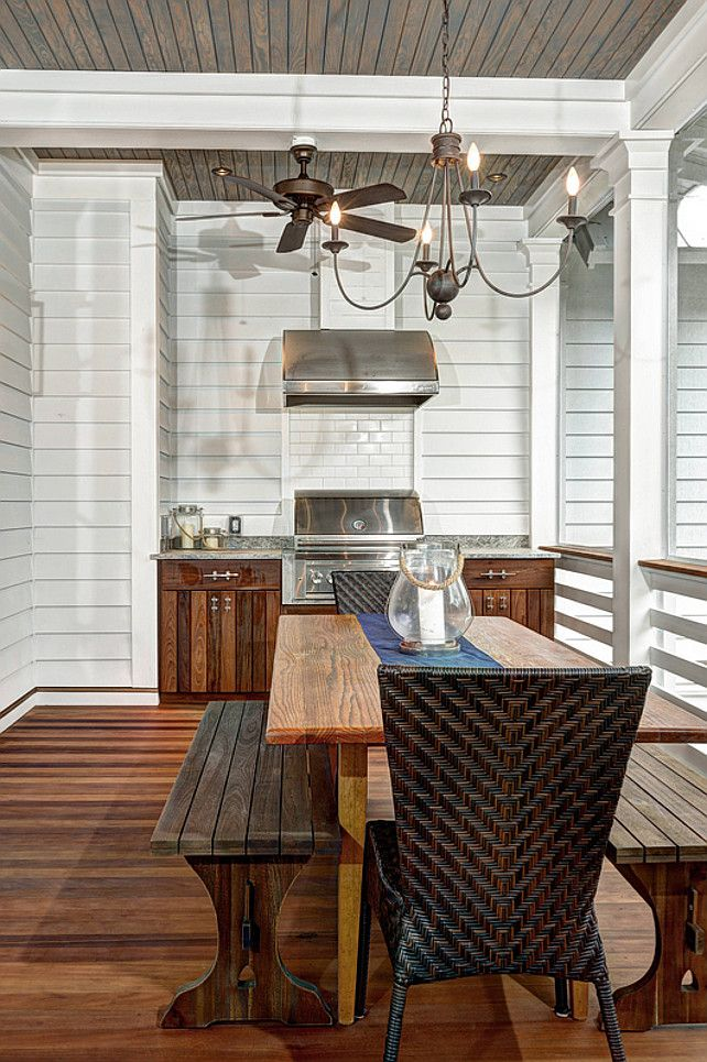 Outdoor Kitchen Built In Barbecue Grill Ceiling Fan Picnic