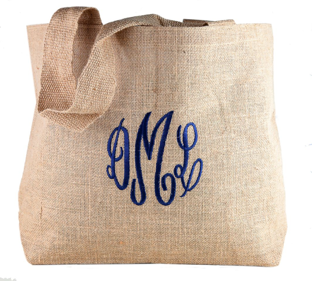 Beautiful beach bag with your monogram in a classic script