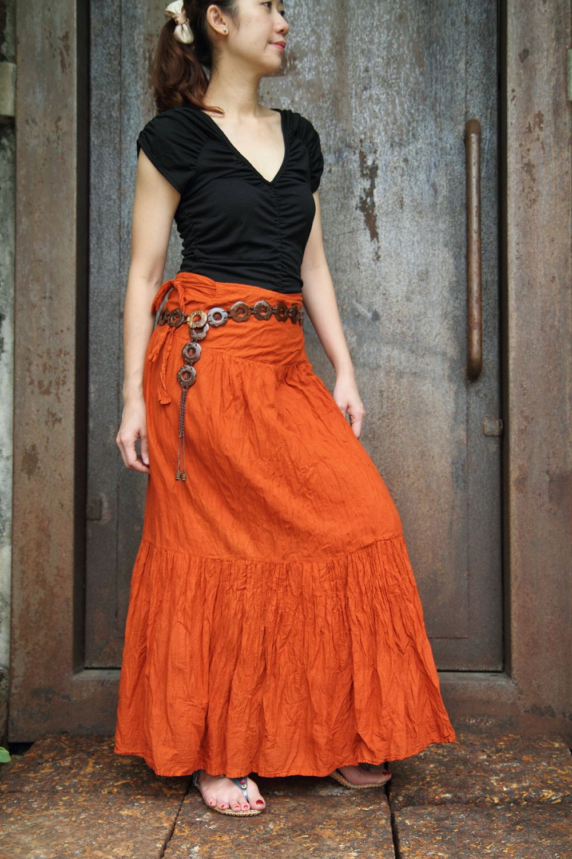 Orange soft and litght cotton long ruffles wrap skirt. via Etsy.