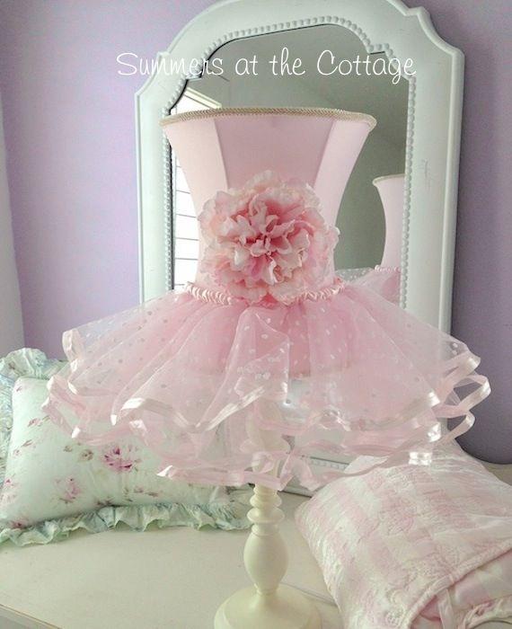 Darling shabby pink rose flower chic ruffles shade white lamp ...