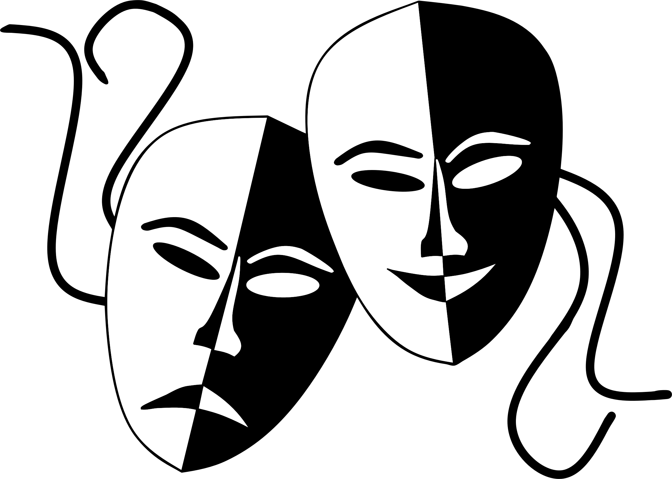 Theater Masks Line Art Free Clip Art Theatre Masks Drama Masks Art Drawings Sketches Simple