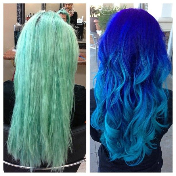 A Before And After From Faded Turquoise To An Ombre Using Chromasilk Vivids Bright Hair Hair Hair Styles