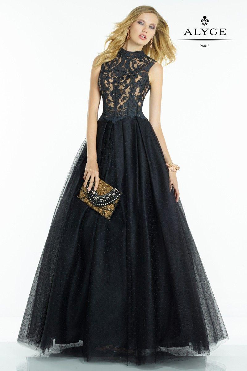 Love label lace detail prom dress