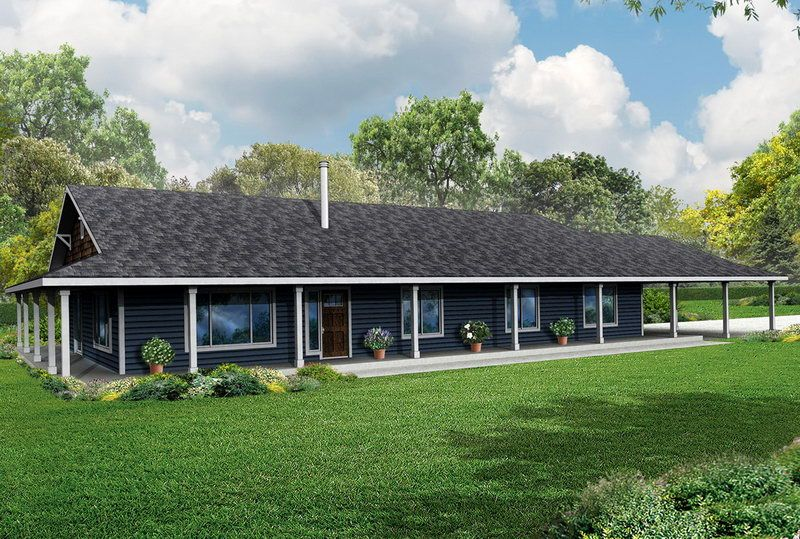 One Story Country House Plans with Wrap around Porch And Red Roof