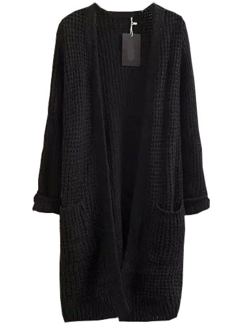 With Pockets Long Black Cardigan | Long black, Clothing and Street