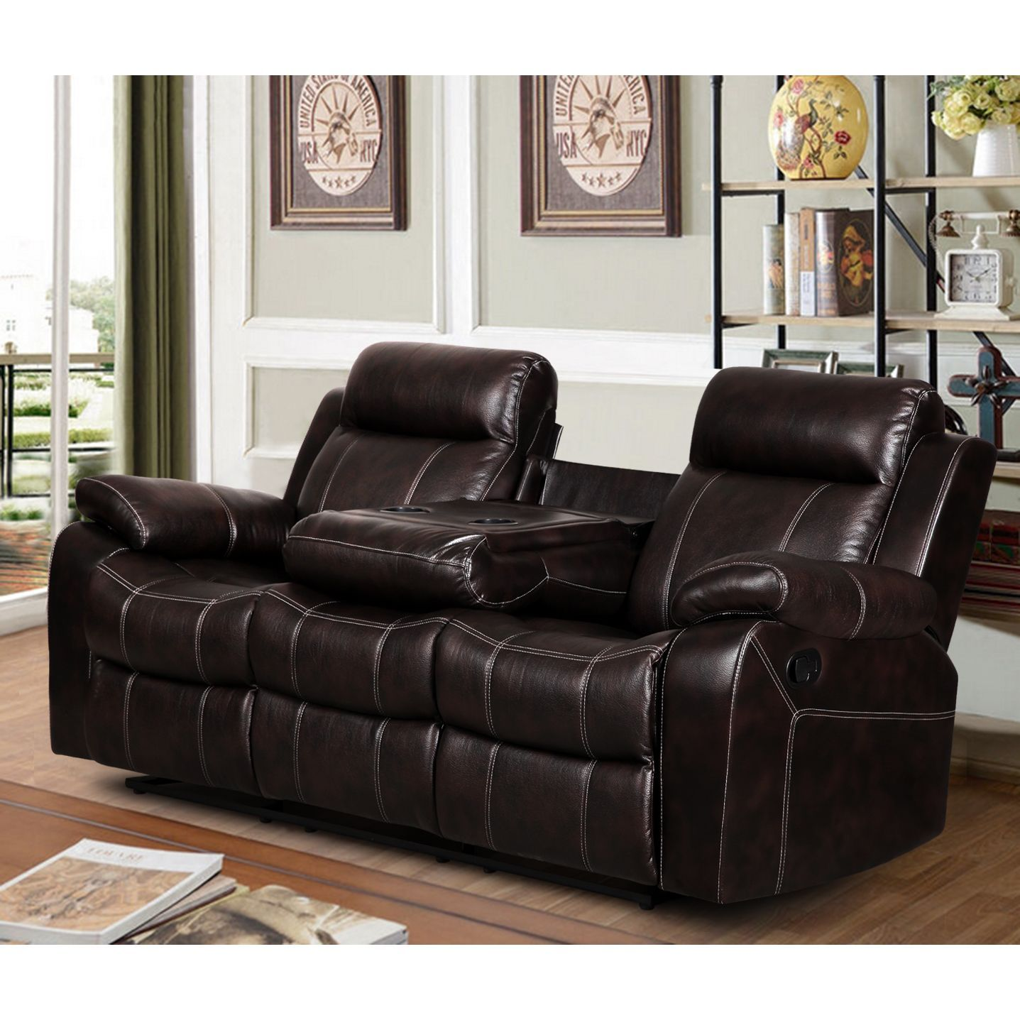 Finley Dark Brown Leather Gel Living Room