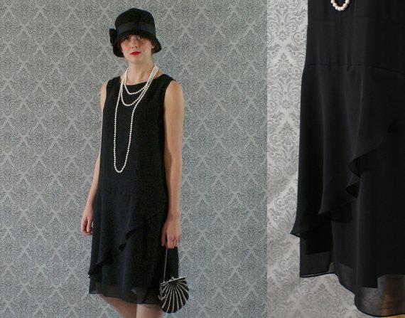 Elegant black flapper dress, with ruffled skirt detail, Great ...