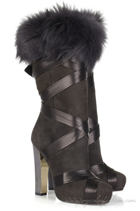 7a8a72ecc50f7 Roberto Cavalli Fur-trimmed suede bandage boots Roberto Cavalli boots have  a round toe, gray leather and gold heel and simply slip on. Dark-gray suede  bo