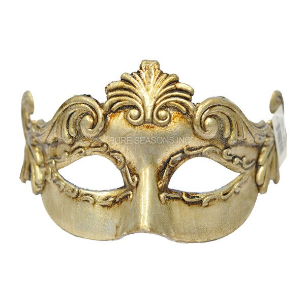 Guilded Grecian Masquerade Mask (Gold) (47 BRL) ❤ liked on Polyvore featuring masks and accessories