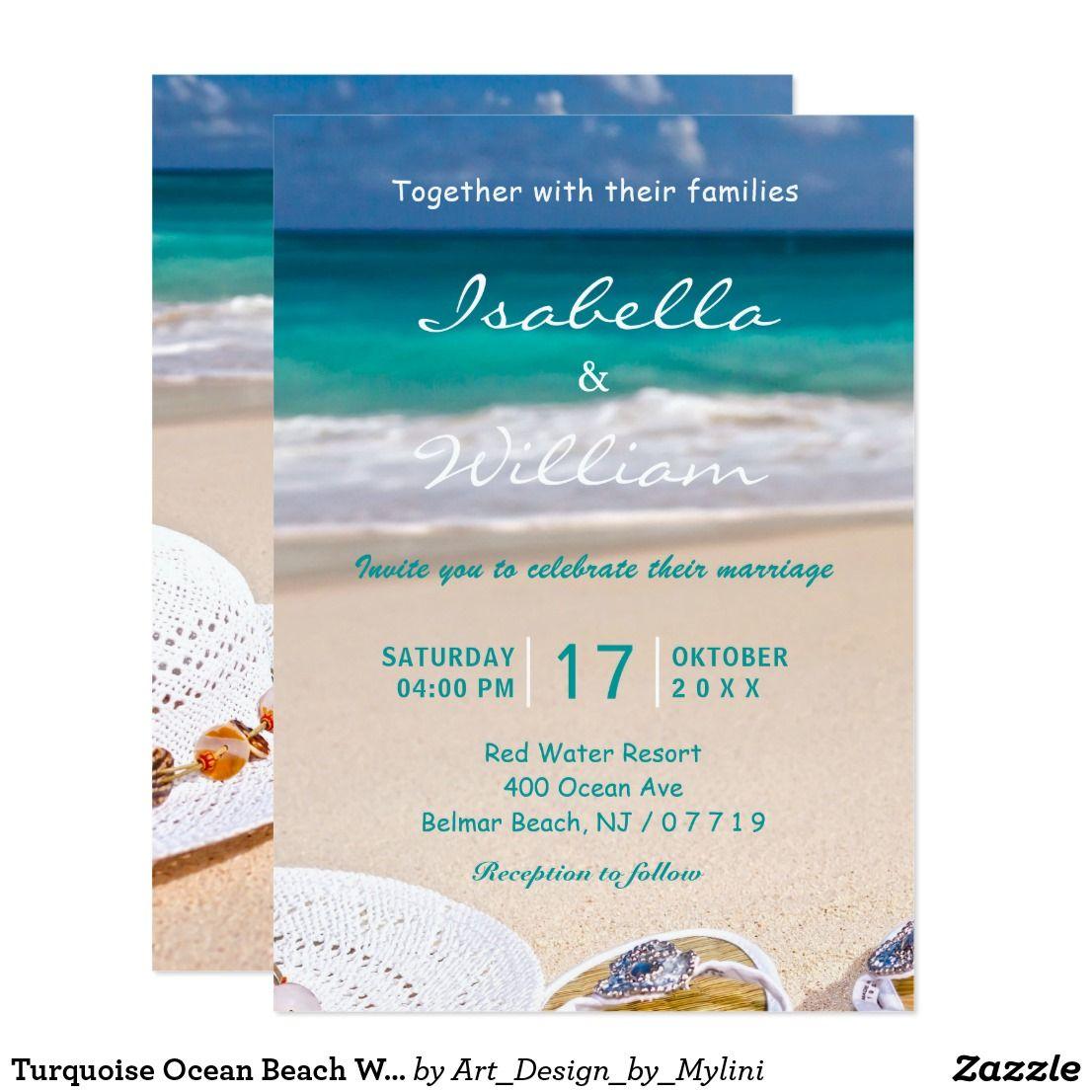 Turquoise Ocean Beach Wedding Invitation   Under the sea   Pinterest ...
