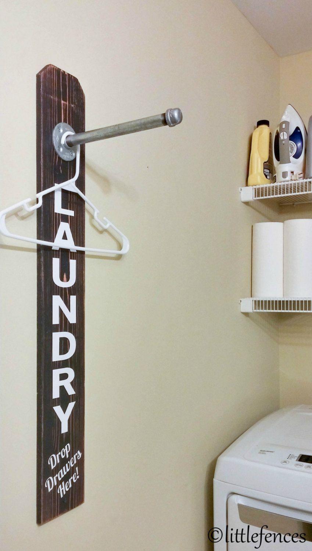 Laundry room sign laundry room organization clothing rack wood