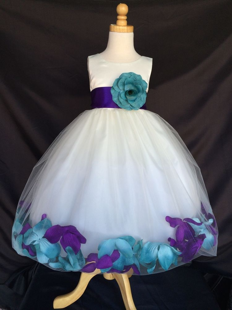 6a1969f18 Ivory Flower Girl Bridesmaids Mix Teal & Purple Mardi Gras Petal Dress  #0043 #Dress