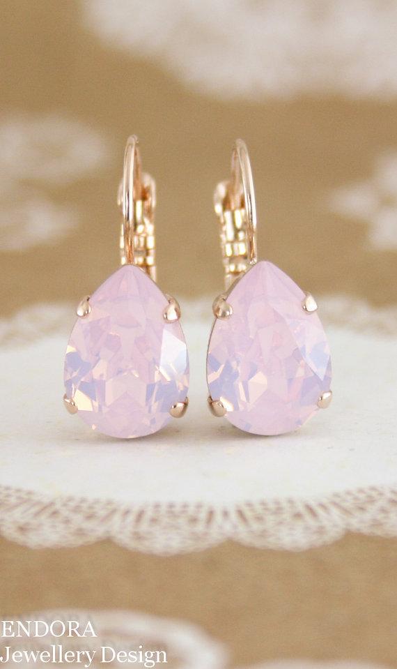Rose quartz pink crystal earrings e0149c205