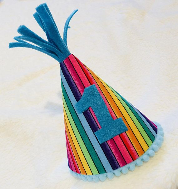 Unisex Rainbow Birthday Hat Boys 1st Cake Smash Crown Prop Number Babies