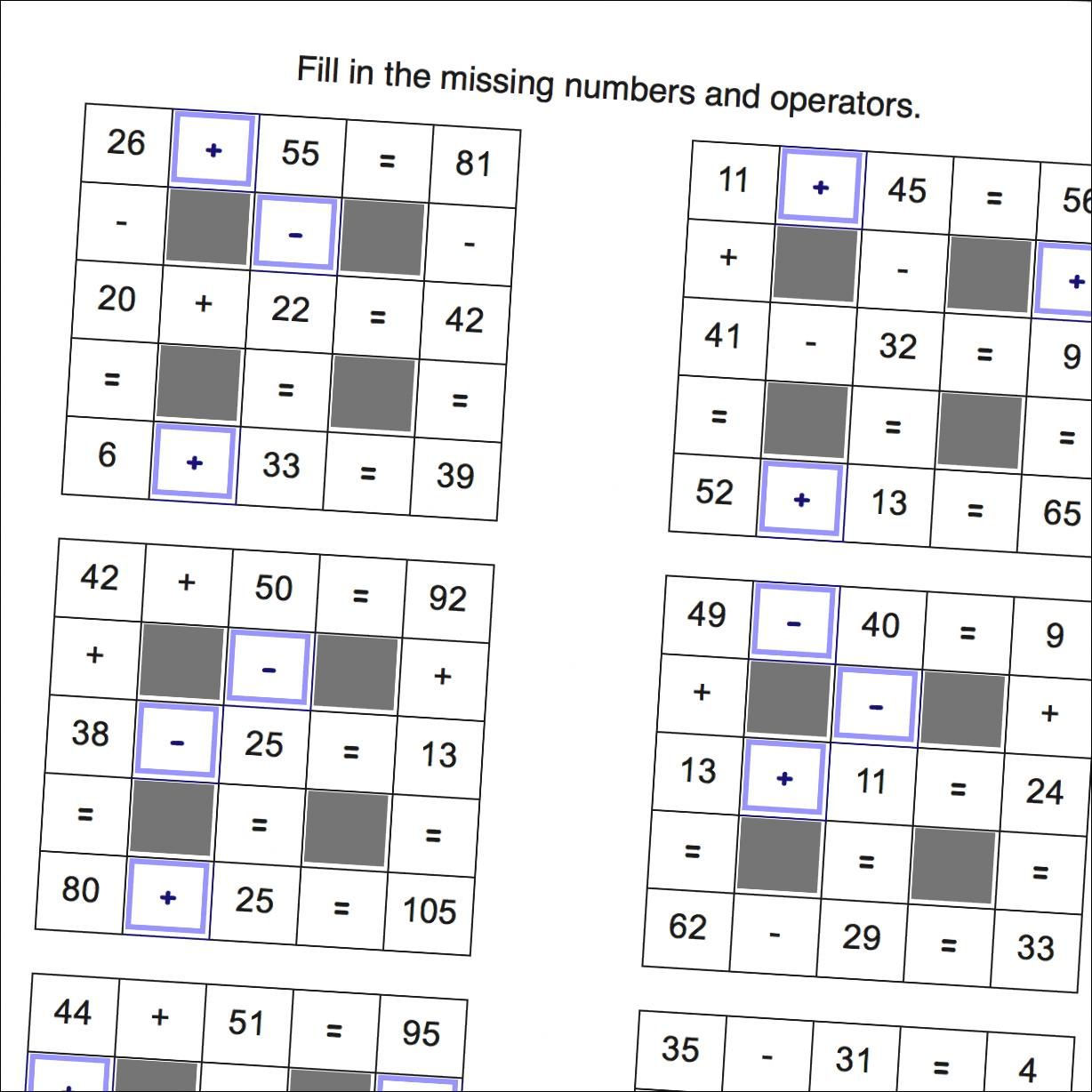 Math Worksheets: Addition and Subtraction Grid Puzzles with Missing ...