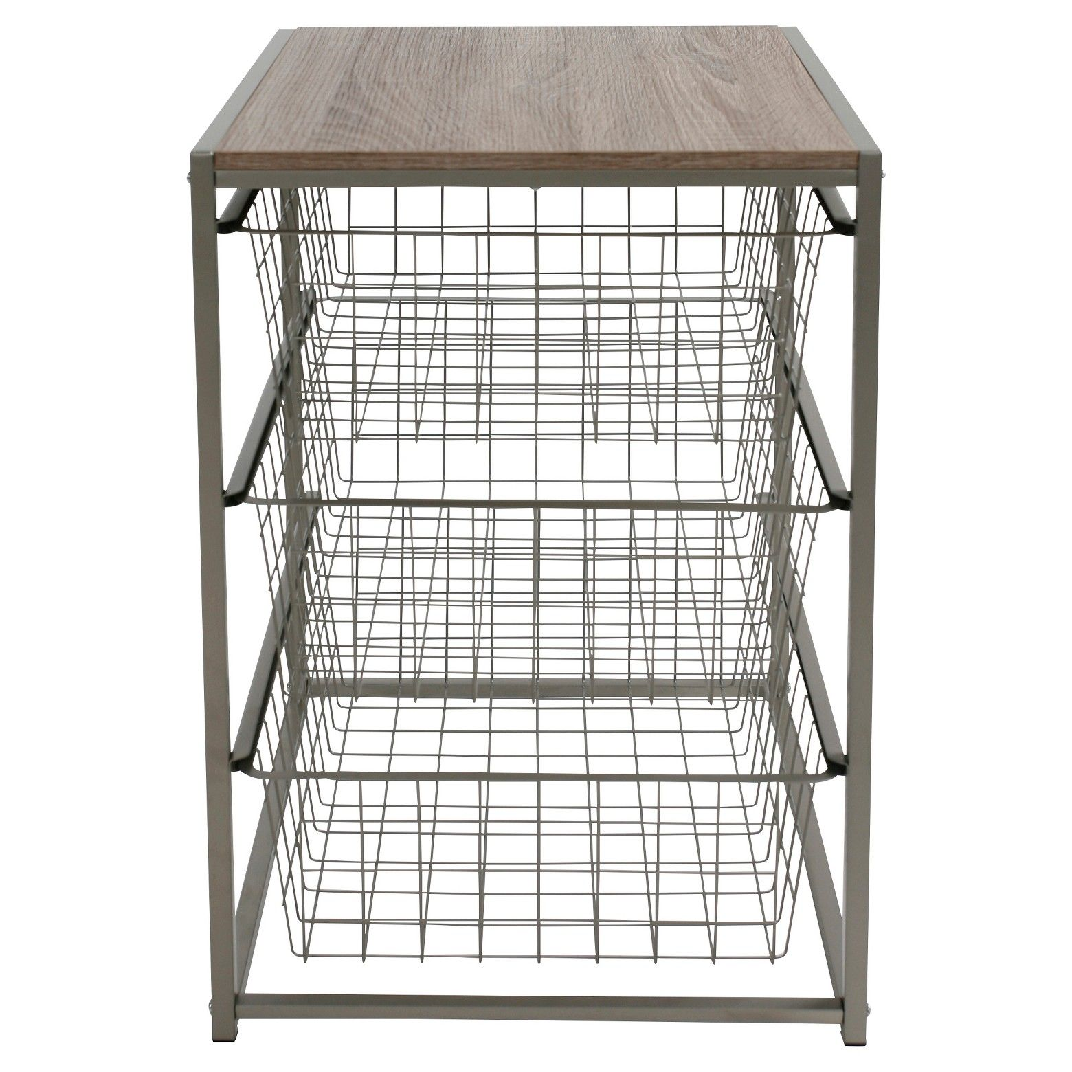 Bull Durable Steel Frame Br 3 Wire Basket Storage Drawers That Slide Out Smoothly Wood Top With A Natural Finish