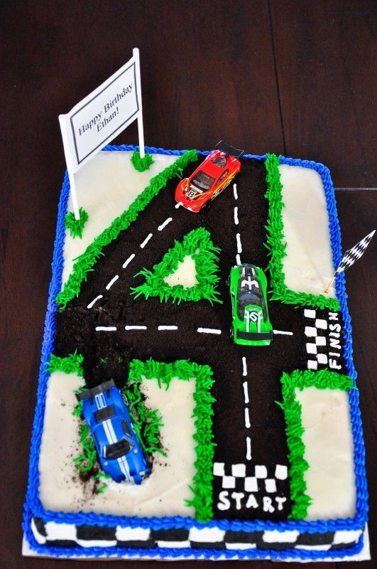 Terrific 4Th Birthday Cake Make A Road Out Of Whatever Number It Is Cjs Funny Birthday Cards Online Sheoxdamsfinfo