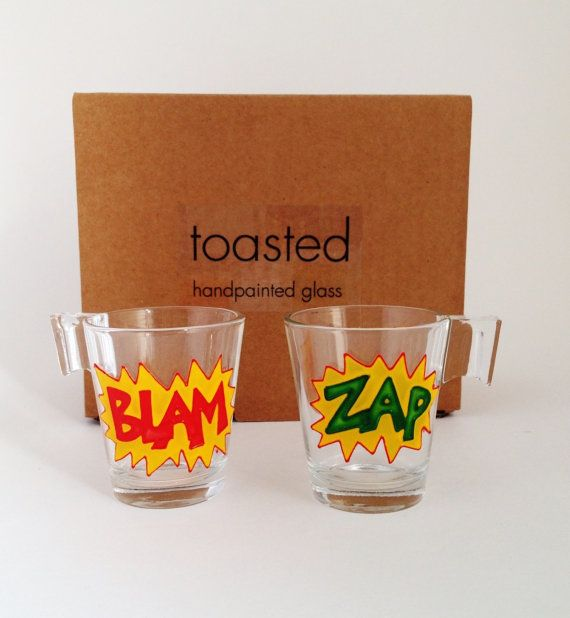 Comic Espresso Cups By ToastedGlass On Etsy, £12.00