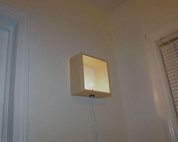 Simple caja moderna lámpara minimalista iluminación madera madera ...