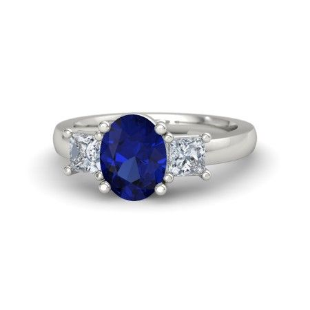 Oval Sapphire 14K White Gold Ring with Diamond | Giselle Ring (9mm gem) | Gemvara