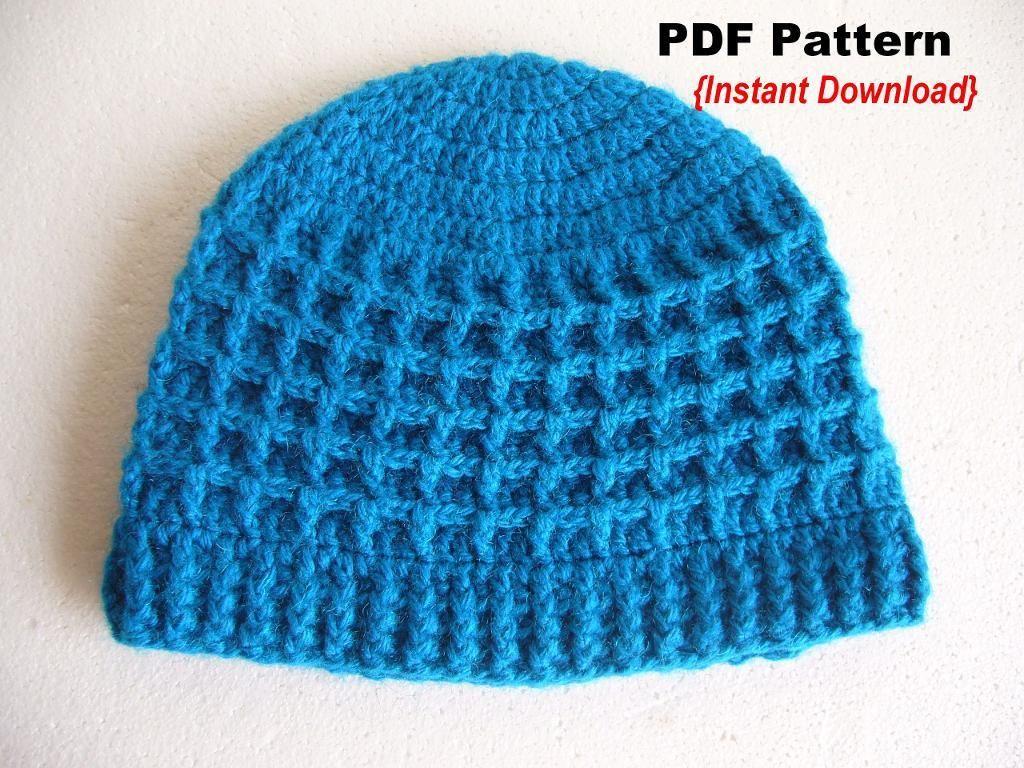 Waffle stitch Hat with Ribbed brim | Waffles, Stitch and Crochet