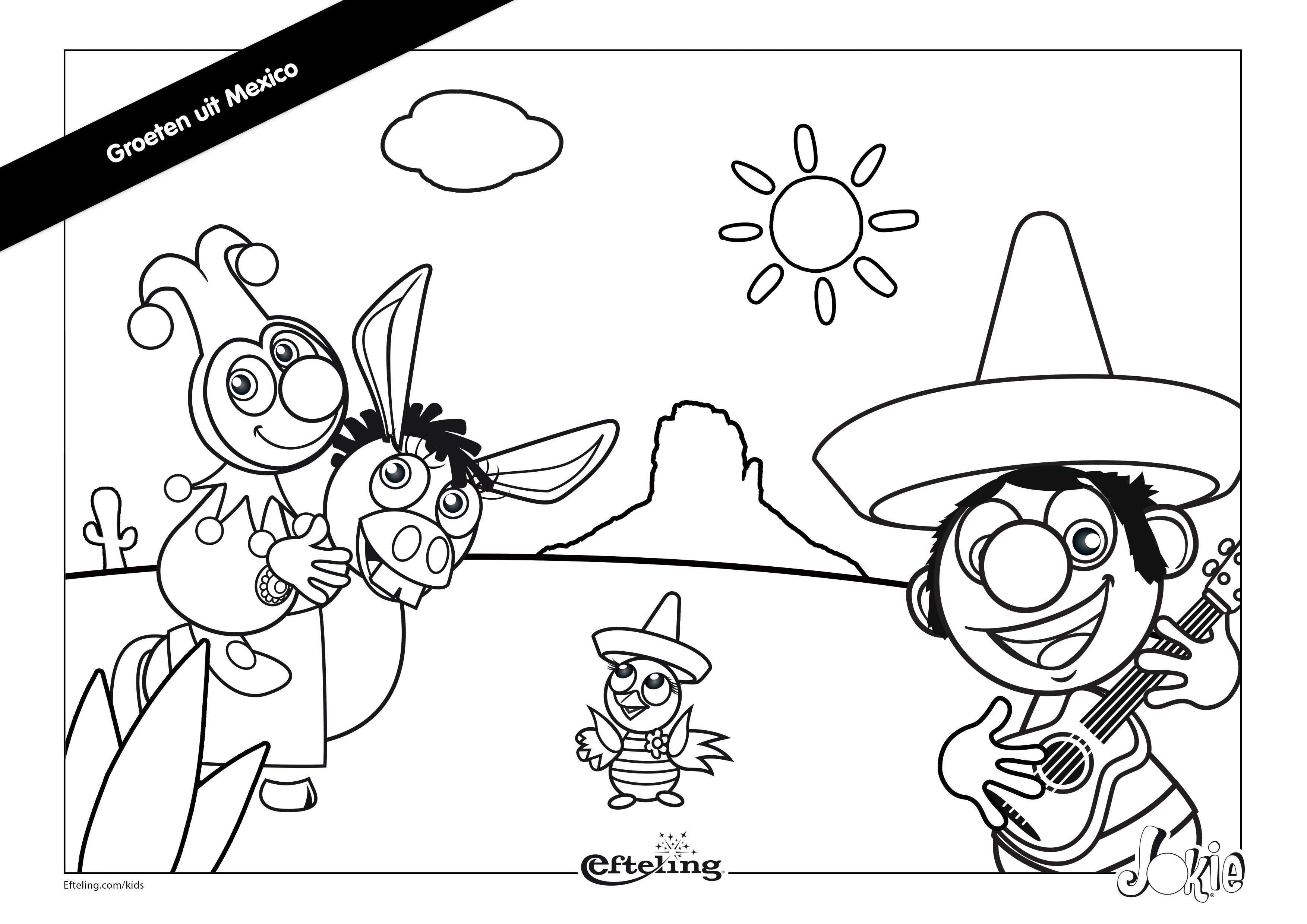 Efteling Kleurplaat Jokie In Mexico Kleurplaten Kinderkleurplaten Mexico