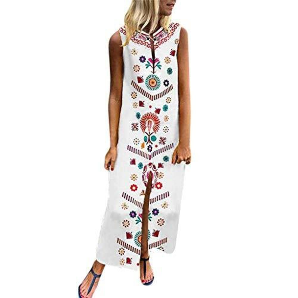 Summer Women Casual Short Sleeve V Neck Loose Printed Maxi Dress With Belt New