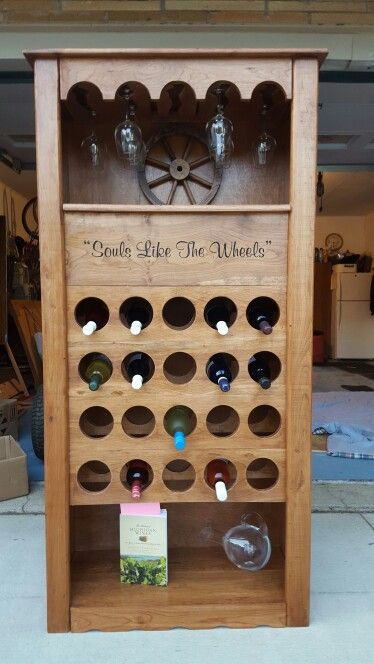 Wine cabinet homemade from cherry with Avett Brother's quote
