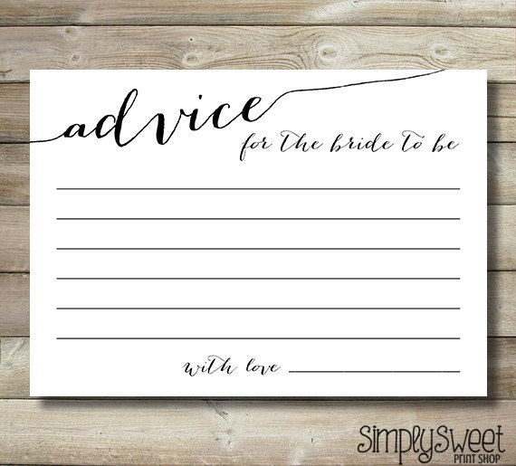 Bridal Shower Advice Cards For The Bride To Be - Elegant Fancy ...