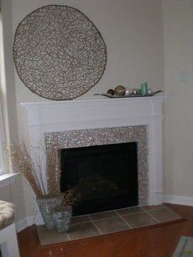Cream Brick Pearl Shell Tile Fireplace Fireplace