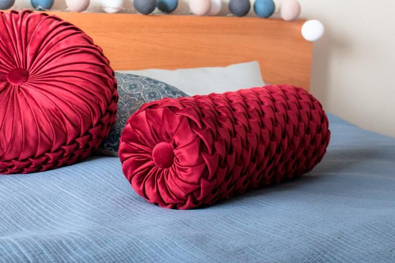 Velvet bolster cushion 7'x19'' Cherry red | Etsy