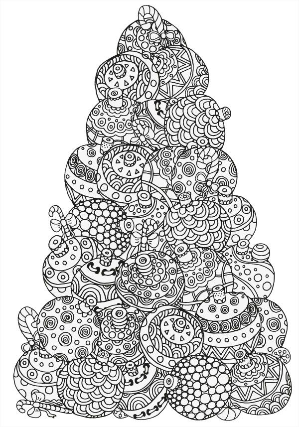 christmas tree made of baubles colouring page