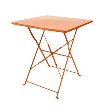 Table pliante de jardin en métal orange L 70 cm - Guinguette   Decor ...