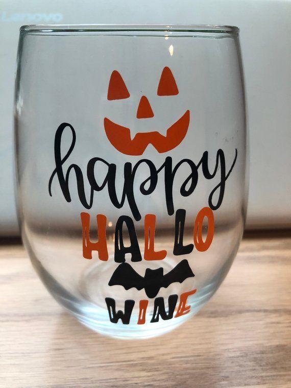 Happy Hallo Wine Halloween Stemless Glass Halloween Wine Glass Diy Wine Glasses Halloween Wine Glasses Diy