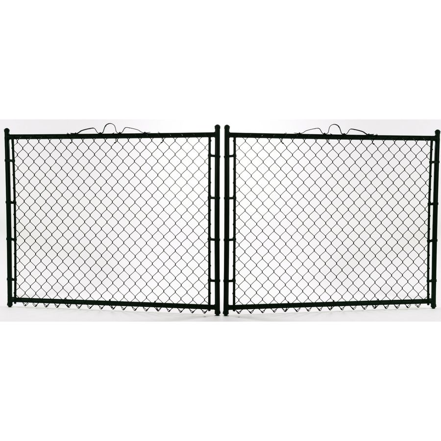 Lowe S 6 Ft H X 10 Ft W Vinyl Coated Steel Chain Link Fence Gate In Black 15075bk In 2020 Chain Link Fence Gate Black Chain Link Fence Chain Link Fence