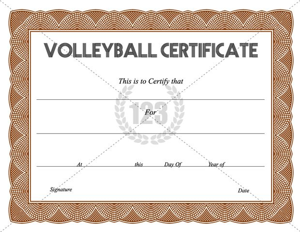 Get Free Volleyball Certificate Templates -123Certificate - certificate of completion of training template