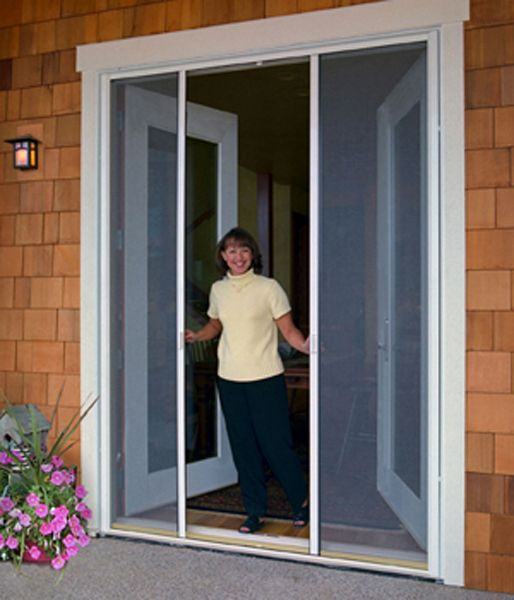 French Doors with Screens Solar screen material helps control