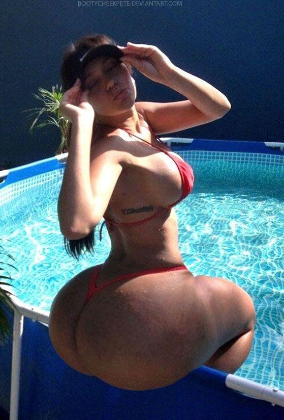 Chubby girl swimming very