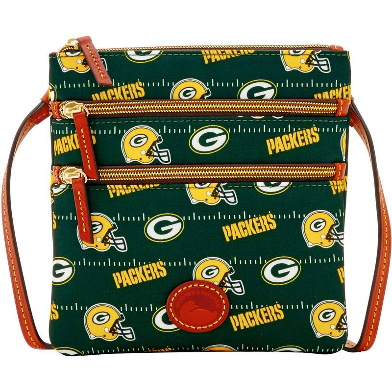 54ff8067 Green Bay Packers Dooney & Bourke Women's Team Color North/South Triple  Zip Purse