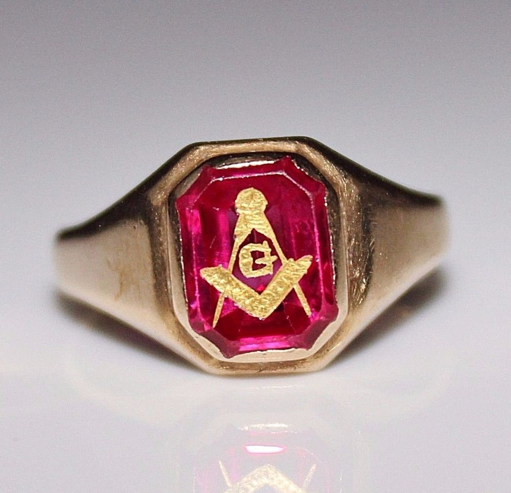 Vintage 10k Gold Masonic Mason Freemason Synthetic Ruby Ring Size 9 4 3 Grams Masonic Ring 10k Gold Ruby Ring