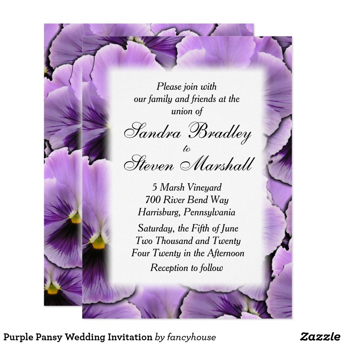Purple Pansy Wedding Invitation | Wedding Invitations | Pinterest ...