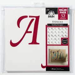 Folkart Alphabet And Monogram Paper Stencils Italic Font 8 Inch