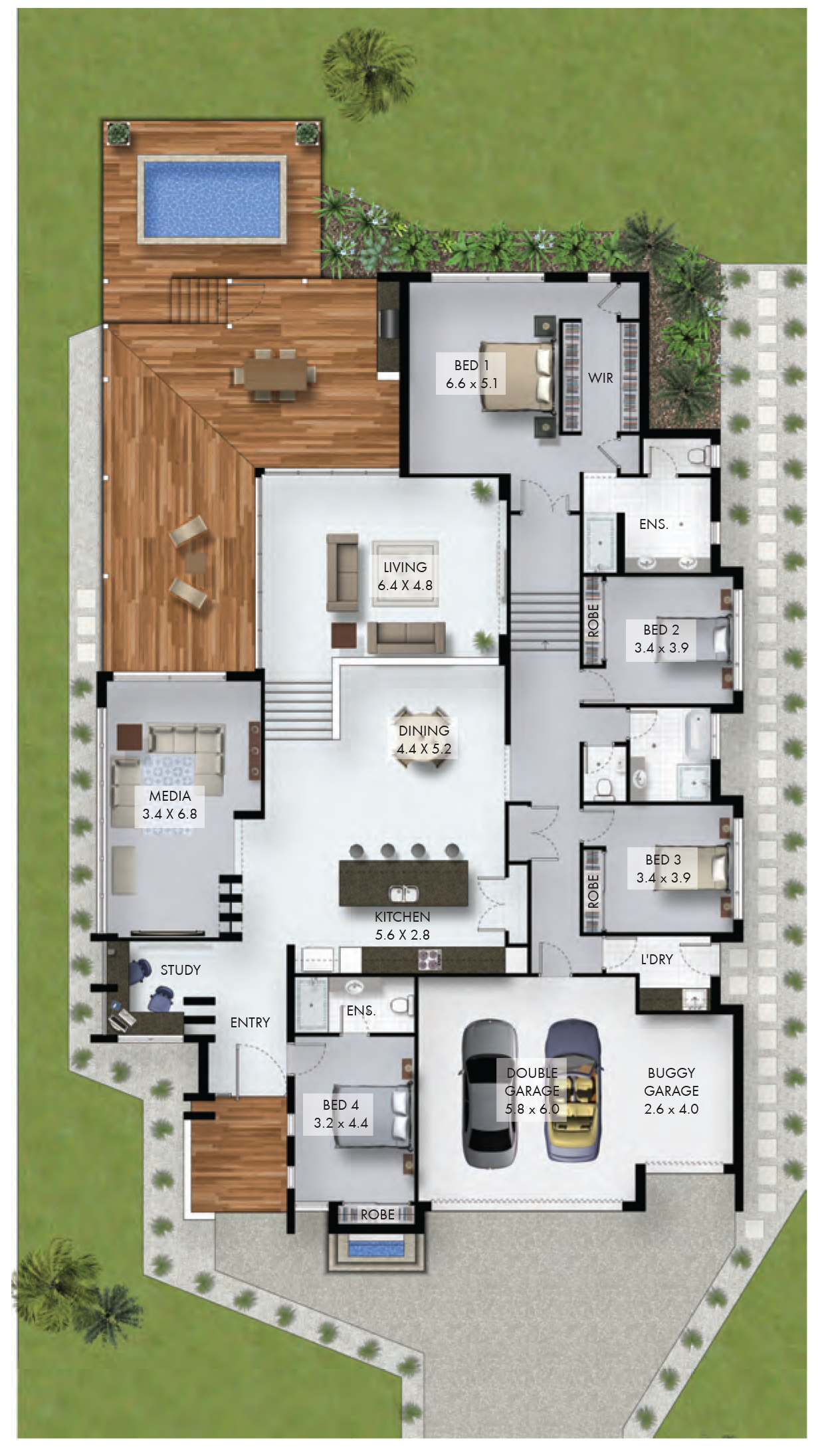 Here S A Non Fancy 4 Bedroom Home With Study Nook And Triple Car Garage Which Would Fit On A Reasonably Narro Sims House Plans Modern House Plans House Layouts
