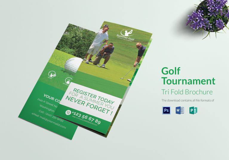 Golf Tournament Tri Fold Brochure Template $25 Formats Included - microsoft word tri fold brochure template