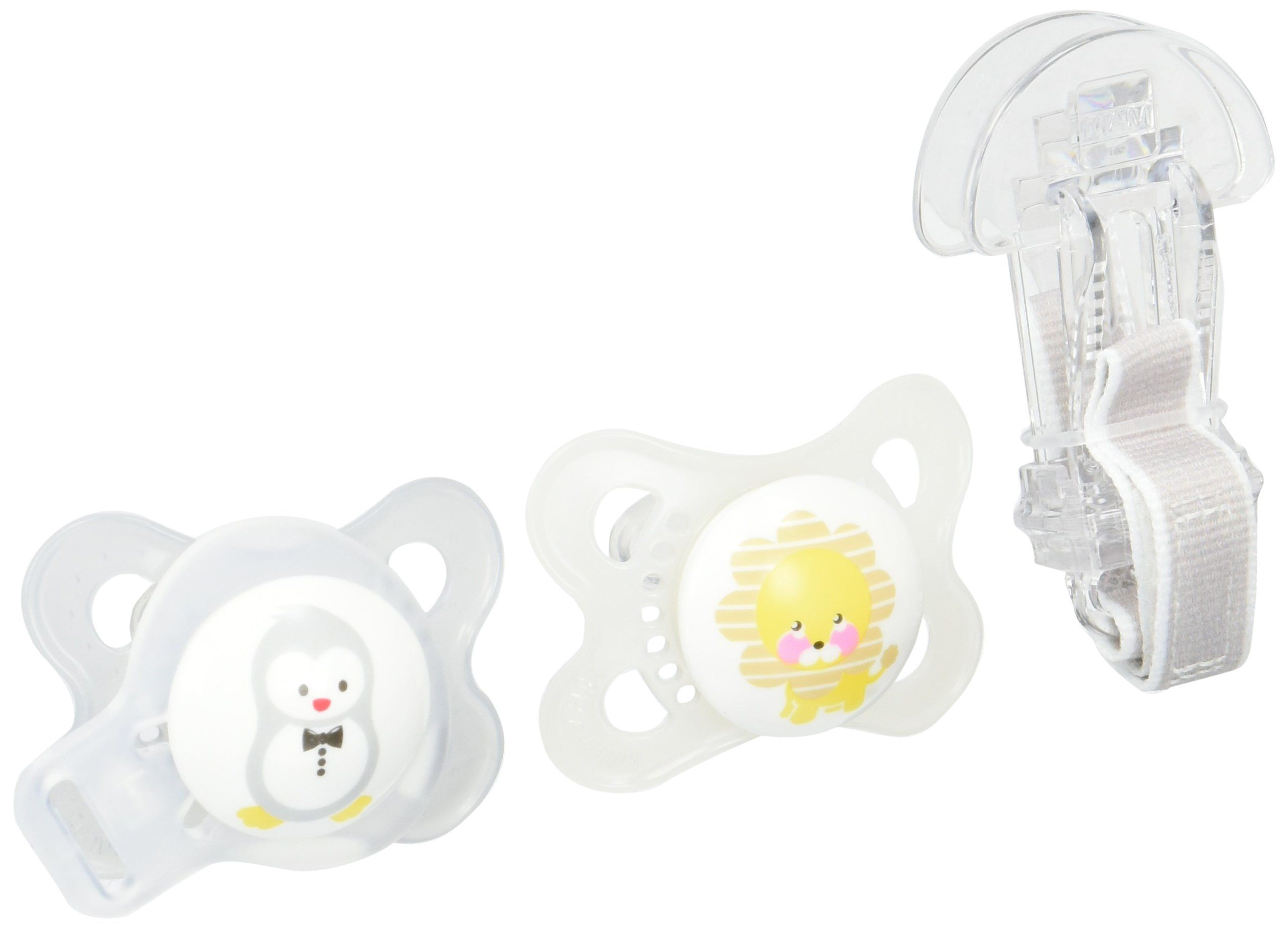 MAM Animals 3 Piece Orthodontic Pacifier with Clip Value Pack  0-6 Months