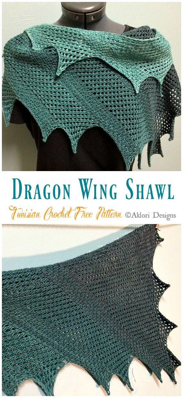 Dragon Wing Shawl Tunisian Crochet Free Pattern - Crochet & Knitting