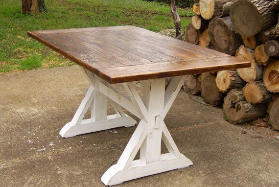 Reclaimed Wood Trestle X Farmhouse Table by WonderlandWoodworks Baltimore  Maryland $750  Farmhouse Trestle Tables  Pinterest  Maryland, ...