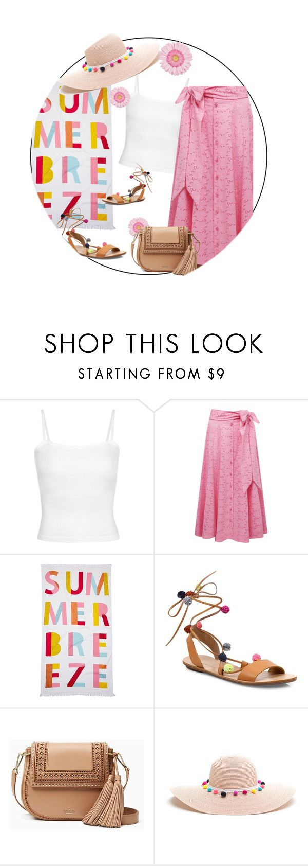"""summer eyelet skirt"" by rvazquez ❤ liked on Polyvore featuring Nordstrom Rack, Loeffler Randall, Kate Spade, Summer, beach and eyelet"