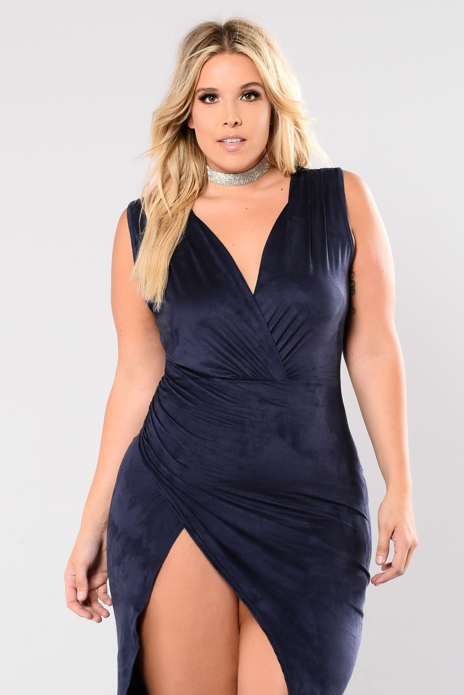 3924a29dd84 Available in Navy Deep V Sleeveless Front Slit Ruching Detail Faux Suede  90% Polyester, 10% Spandex