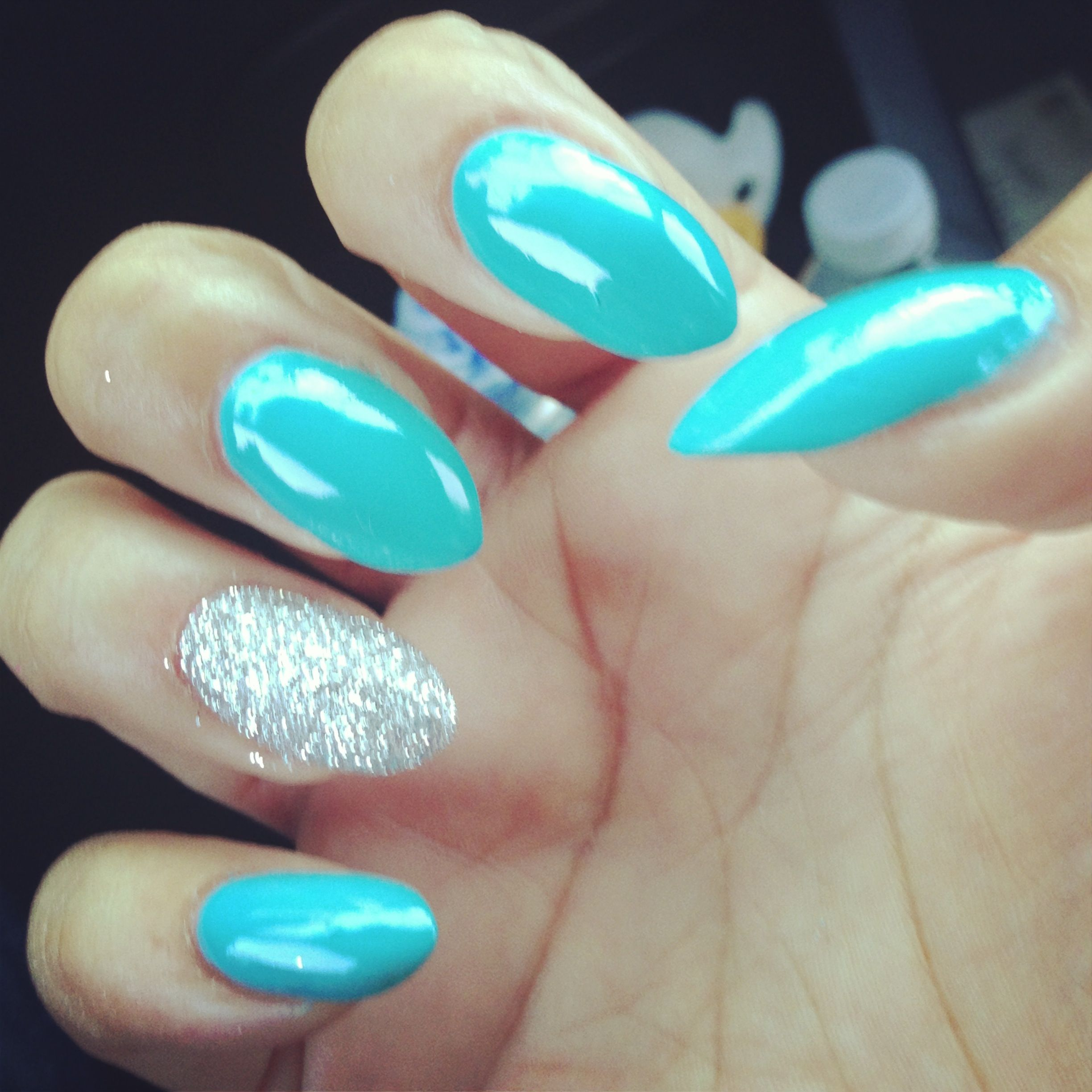 turquoise and accent glitter almond